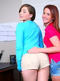 Check these 2 smoking hot teenie babes get fucked by the school principal hot office fucking teen 3some