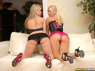 Hot fucking round ass trsha and big tits molly fuck eachother hard in these hot dildo fucking lesbian pics
