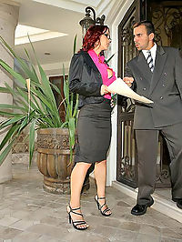Smokin hot big tits red head gets her office pussy pounded againt the desk in these hot fucking cumming pics