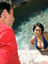 Amazing big tits dylan gets her bikini ass picked up by the pool for some hot titty and pussy fucking pics