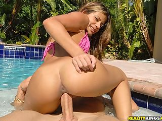Hot pink bikini latina nailed hard in this hot pool fucking cumfaced pic set