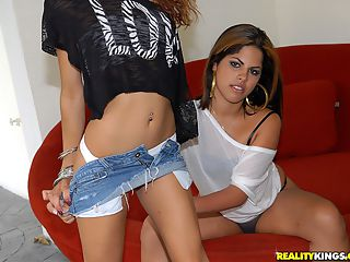 Watch 2 hot mini skirt latinas suck and fuck a big dong hot 3some fucking reality cumfaced pics
