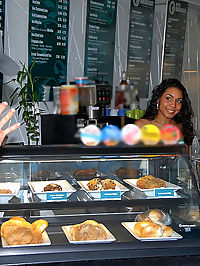 Beautiful latina deven gets her juicy love box pounded hard behind the counter of a muffin shop in these hot reality porn pics and big movie