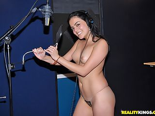 Sujper hot latina gets sings naked then gets her box pounded by the producer to junp start her career in these hot pics and 3 minute video
