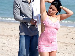 Meeting on the beach leads to hot touch and tease for this latina