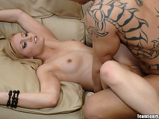 This sexy blonde gets her undies all wet when she starts squirtin like crazy