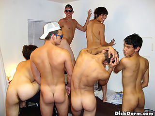 Hot ass college boys share their big cocks in these dorm room sex parties
