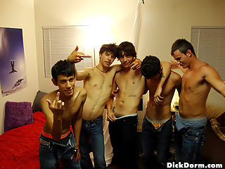 5 super hot horny college dudes cant help but to fuck eachothers ass in this dorm room fucking party orgy