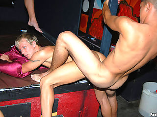 Super hot gay sex orgy at a club watch these amazing gay papis get naked crazy bananas on the floor