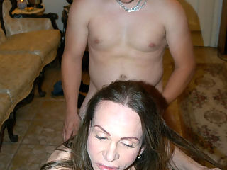 Tranny with huge breasts getting intimate with straight guy