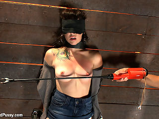 Total Amateur Gets Tied up and Dominated for the First time Ever : Natalie is brand spanking new. This is not only her first scene EVER, but also her first time ever being tied up, dominated, and shocked with electricity!!!! Princess Donna immediately starts fucking with her head by shackling her neck to the wall, blindfolding her, and bringing out the cattleprod. Natalie is so scared she fears she might not be able to cum, but she is WRONG. She cums hard and uncontrollably until she is literally begging for the orgasms to stop!!!!!