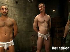 Breaking Leo Forte - Live Shoot : Welcome to the Bound Gods Live shoot. Its a live shoot and the chat room is full. We are streaming live worldwide via the internet and the viewing members are calling the shots. This week, Leo Forte and Blake Daniels are competing for Spencer Reeds load. The boys are bound tight to the chairs wearing vacuum tit clamps. Spencer throws weights in the buckets on a pulley that pulls on the boys taints and assholes. He gives his famous smile as the boys scream in pain. Blake is there to witness Leo endures as a sub. Spencer flogs the living daylights out of Leo. This is the hardest Spencer has ever beaten anyone. To reward both boys, they sit on the vibrating buttplugs of the Sybian machines and made to cum.