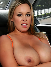 Bigtit babe Brandy Talore : Very busty babe Brandy Talore gets cum on her tits