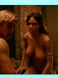Rosario Dawson shows her amazing jugs while riding her man in bed