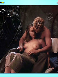 Alyssa Milano gets her creamy jugs licked while in bed with her man.
