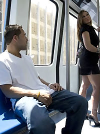 Imagine you were just hanging around downtown, you decide to take the metro mover to get around town faster and as soon as you sit down, this gorgeous milf with a short dress and huge tits walks in ri