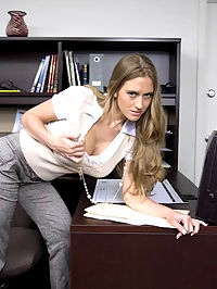 She began to tease his boss, showing him what is underneath her secretary attitude is a nymph, hungry for sex.