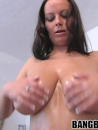 Oiled up huge tit bitch getting fucked
