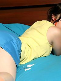 Perfect teen ariel sits in her skirt sneaking upskirt shots before getting topless