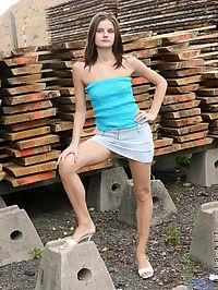 Pretty fuckin cute teen hottie carolina is outside with a bunch of two by fours and lumber