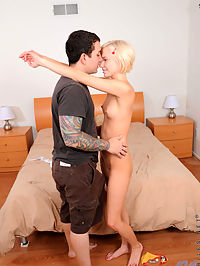Naughty blonde babe Hayley Hilton gets rammed hard by a hot lucky stud