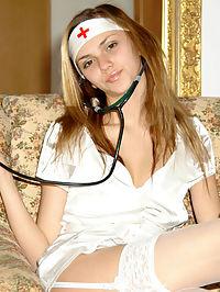 Stripteaser teen nurse showing wonderful curves indoors