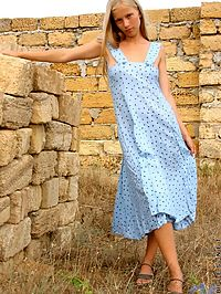 Such a cute teen hottie ljuba is outside and getting out of her sundress she has nice titties