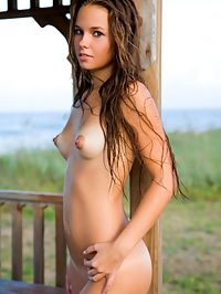 ARIA AERIVIA by KEVIN ROBERTS : Aria is a young girl who has brown hair , has a new tan with hot white tan lines and big puffy nipples.