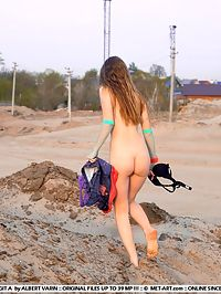 BRIDGIT ASWEETEST by ALBERT VARIN : Beach girl with tiny nipples and breasts gets dirty and down in the naked sand.