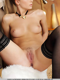 FRANCES ADEGALIS by TONY MURANO : Tight blonde with haired pulled back and black panties pulled up high and trimmed pussy just so.