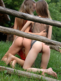 NORA A and KSUCHA CSIMILIAN by GONCHAROV : Two edgy girls out in the woods bending over and exposing their nude wonders.