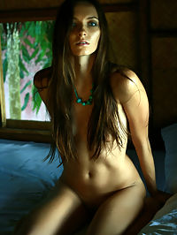NADYA CPERXIAS by PASHA : Dark rooms create shadows that contour the tall wonderful brunette and her sensuous form.
