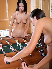KARINA K and FIDELIA AK and F by OLEG MORENKO : Foosball with naked dark haired girls who always play hard and its never fair.