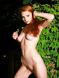 NATALIA ASKERIJAN by VORONIN : Eve in the garden, with red fire hair, tight medium breasts, a tiny bush that is red too and Adam is really in trouble.