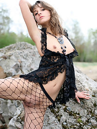 INNA KALEIAS by PAROMOV : Inna is back in this outdoor shoot along the rocks and mist.