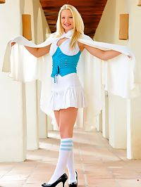 Nikkie in a school girl outfit pulls her labia hard