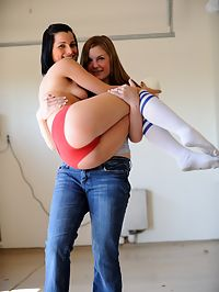 Jamee playing naked football with danielle ftv