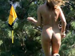 Ashley streaking nude on the golf course