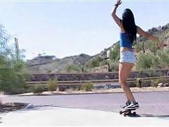 Cornine skateboards in her panties