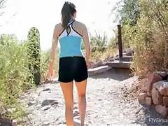 Emilie goes for a jog and stretches