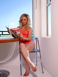 Naughty innocent Kara rubbing her sweet, fresh clit while reading magazine