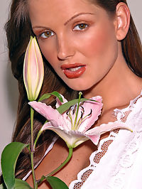 Glamorous Sandra teasing licking and biting her flower