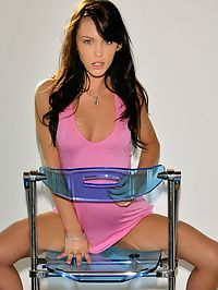 Jenna Presley on a chair pulls up her dress showing her sweet, tight butt