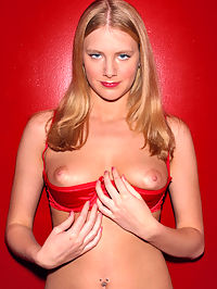 Flirty coed Nicole flips off her sexy, red undies and squeezes her soft, round titties