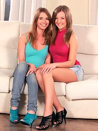 Renata and Misha - Smiling teens undress and lap twats