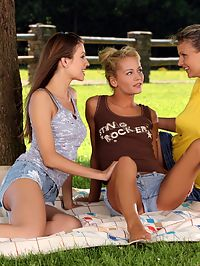 Jolie, Juliette and Sunshine - Three stunning teens in garden orgy