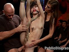 Super Flexible Sensi Pearl Gets Tied up and Fucked : Sensi Pearl is the hot new thing in bondage porn. Tough, flexible, and sexy as hell, she is put through her paces at a live public disgrace event at the armory. Tied in compromising and strenuous bondage positions she is made to suck cock, get fucked, made to squirt, and made to get off random girls in the audience.