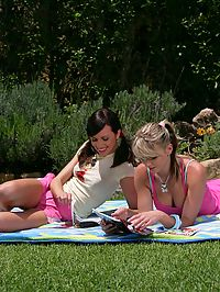 Avidat and Geena - Teen beauties make love in garden