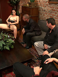 Office Slut : In this tough economy Kimberly Kane is ready to do whatever it takes to get a job. When she comes in for a second interview at a prestigious firm she is caught off guard when they are more concerned with her, um, assets than her qualifications....First she is made to strip and then masturbate for the group of male interviewers. Then she is pushed to the ground to kiss their feet and lick their shoes. They see just how much she is willing to degrade herself to get the position, and it turns out she is ready to go all the way. Bound and fucked in every hole, double penetrated, and covered in cum. Now the question is, will she get the job?