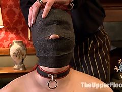 Service Session The Ropes : House slave 5 is chosen to show trainee o how it is done on The Upper Floor. After going through all the slave positions, 5 is put into a difficult partial tit suspension and whipped mercilessly. When her exemplary punishment is done, 5 is rewarded with some enthusiastic pussy worship from o.